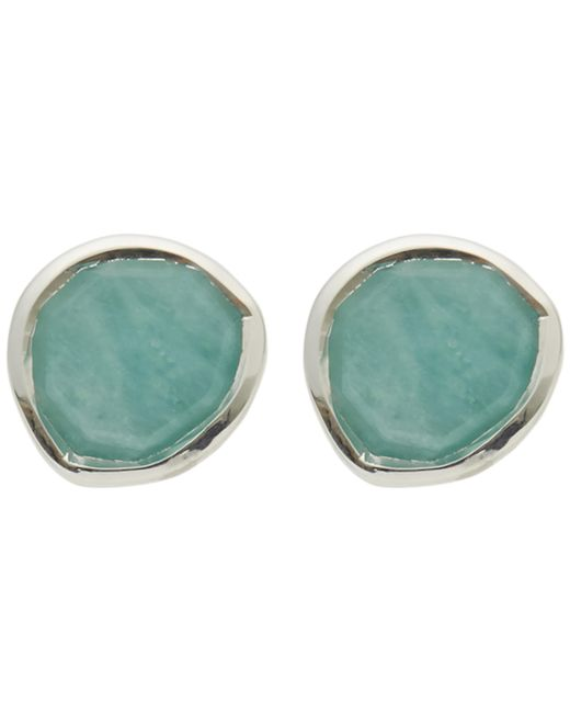 Monica Vinader - Metallic Silver Siren Amazonite Stud Earrings - Lyst