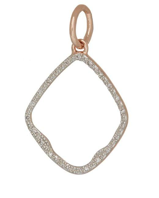 Monica Vinader - Metallic Rose Gold Vermeil Diamond Riva Hoop Pendant - Lyst