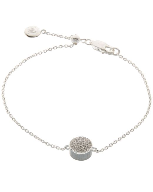 Monica Vinader - Metallic Silver Diamond Ava Button Bracelet - Lyst