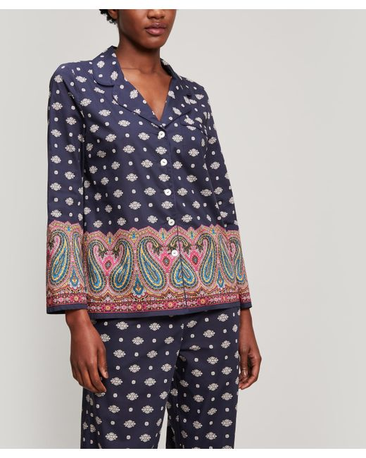 Liberty Blue Persia Tana Lawn Cotton Long Pyjama Set