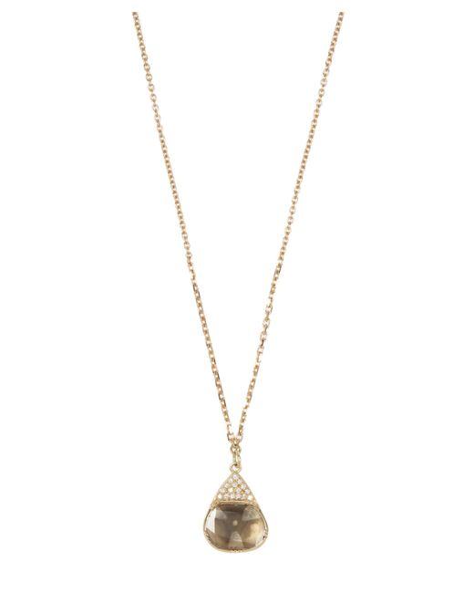 Brooke Gregson - Metallic Gold Halo Diamond Slice Necklace - Lyst