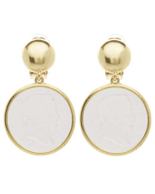 Oscar de la Renta Metallic Gold-tone Cameo Clip-on Drop Earrings