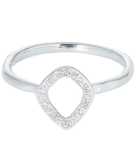 Monica Vinader - Metallic Silver Riva Mini Kite Diamond Stacking Ring - Lyst