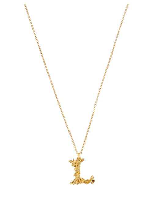 Alex Monroe - Metallic Gold-plated Floral Letter L Alphabet Necklace - Lyst