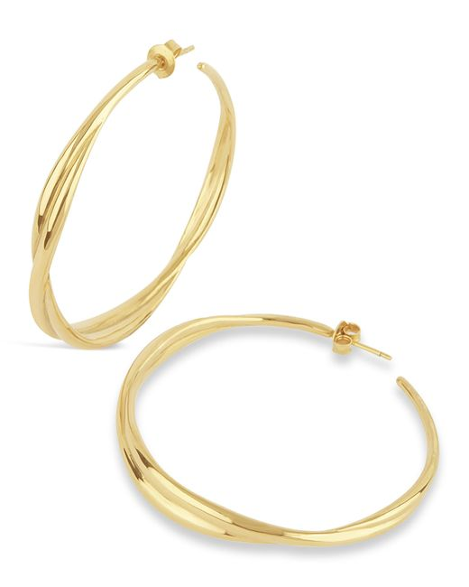 Dinny Hall | Metallic Gold Twist Large Hoop Earrings | Lyst
