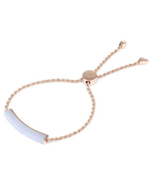 Monica Vinader - Metallic Rose Gold Vermeil Linear Blue Lace Agate Stone Bracelet - Lyst