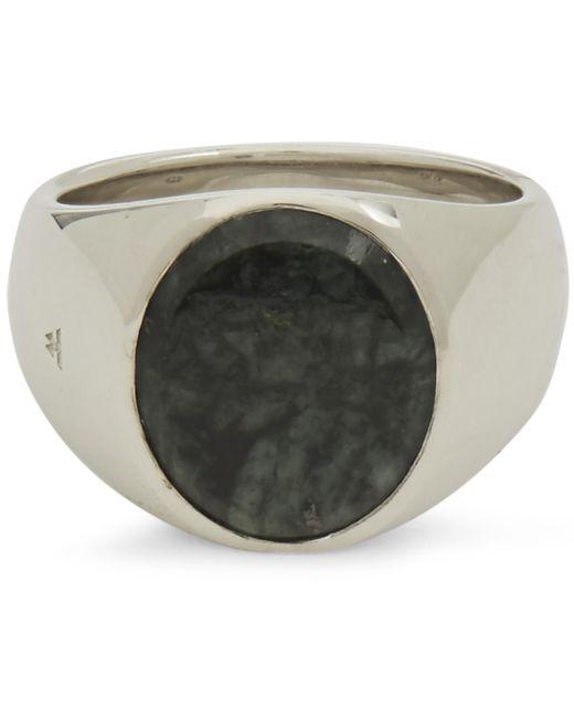 Tom Wood Metallic Green Marble Oval Ring for men