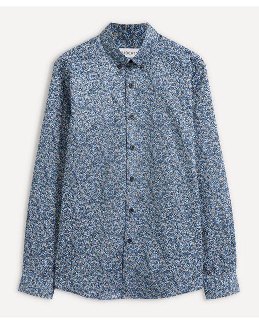 Liberty Blue Ragged Robin Cotton Twill Casual Button-down Shirt for men