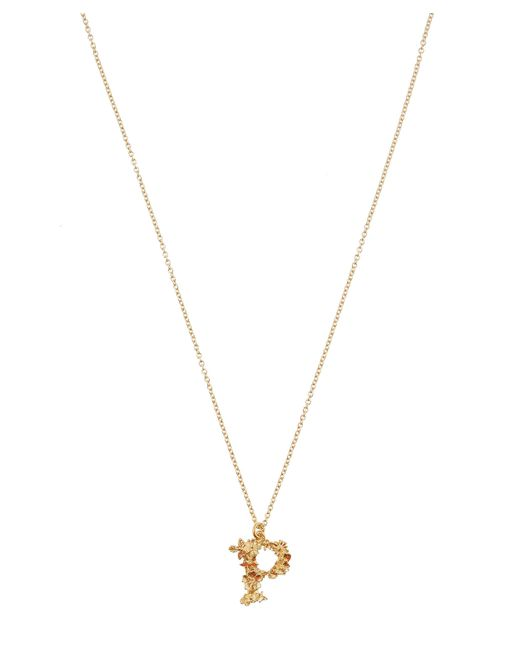 Alex Monroe - Metallic Gold-plated Floral Letter P Alphabet Necklace - Lyst