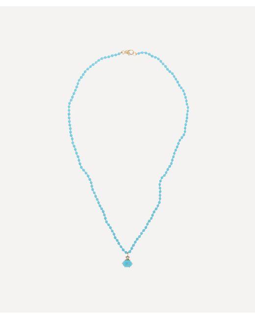 Andrea Fohrman Multicolor Mini Cosmo Lapis And Diamond Beaded Pendant Necklace