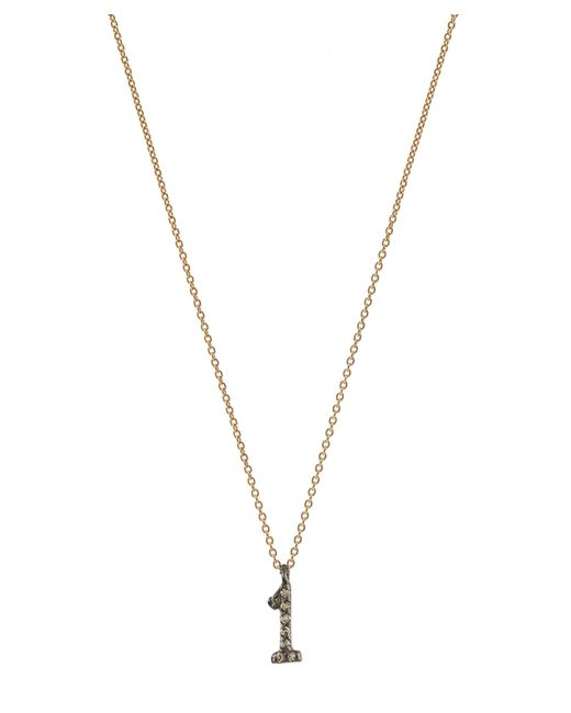 Kismet by Milka | Blue Rose Gold And Diamond Number 1 Necklace | Lyst