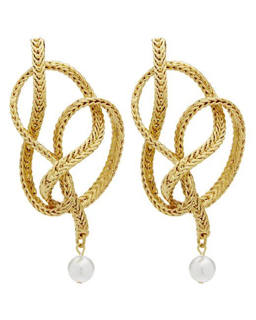 Oscar de la Renta Metallic Braided Chain Earrings