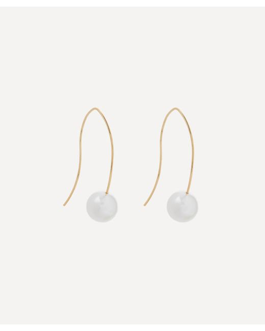 Kenneth Jay Lane White Gold-plated Faux Pearl Wire Drop Earrings