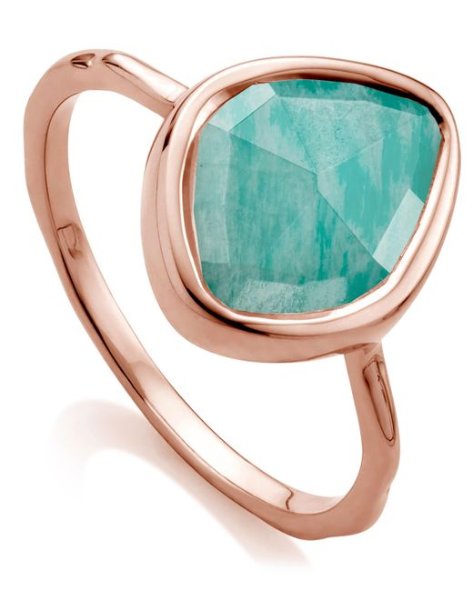 Monica Vinader - Multicolor Rose Gold Vermeil Amazonite Siren Small Nugget Stacking Ring - Lyst