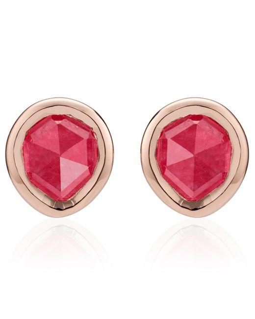 Monica Vinader - Rose Gold Vermeil Pink Quartz Siren Mini Stud Earrings - Lyst