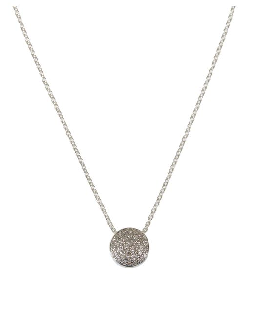 Monica Vinader - Metallic Silver Diamond Ava Button Necklace - Lyst