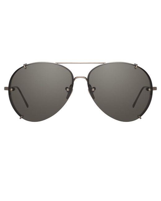Linda Farrow Multicolor Peggy C4 Aviator Sunglasses