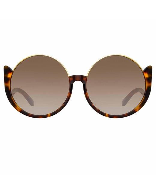 Linda Farrow Brown Florence Round Sunglasses