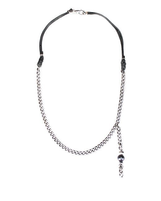Emanuele Bicocchi - Metallic Silver And Leather Necklace With Pearl - Lyst