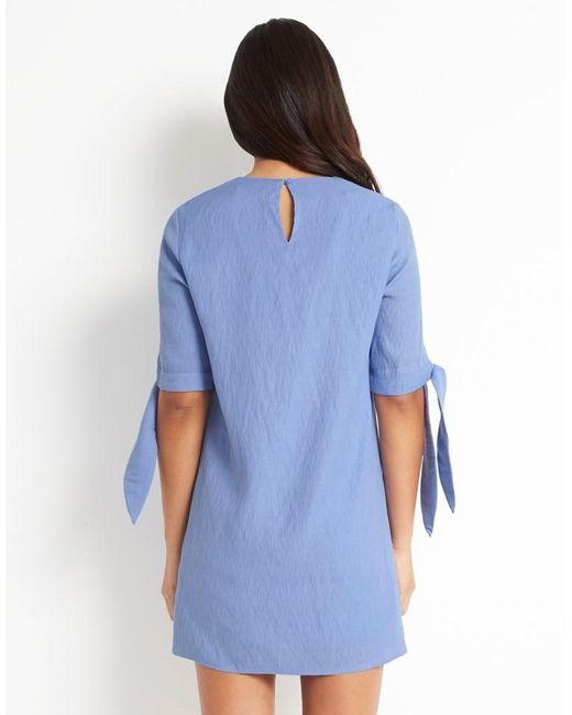 Fashion Union Bow Sleeve Shift Dress In Blue Lyst