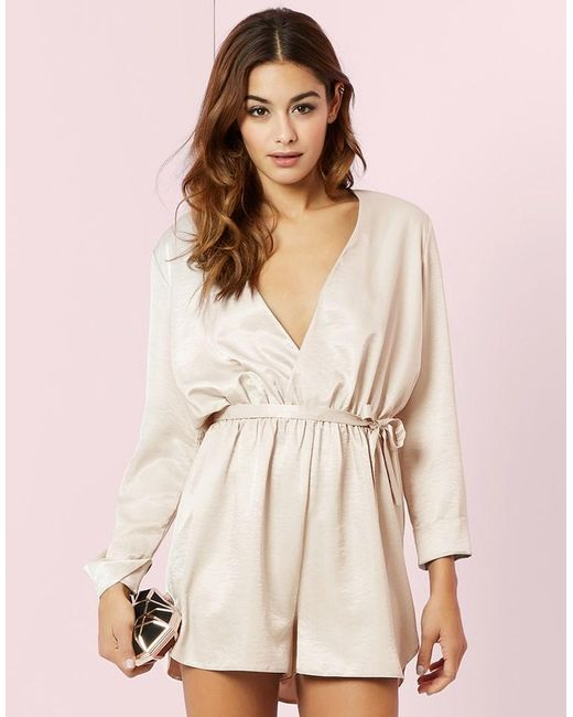 Lipsy | Natural Satin Long Sleeve Playsuit | Lyst
