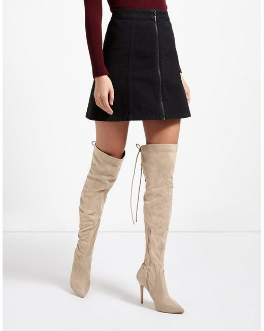 Lipsy Stretch Corset Detail Over The Knee Boots in Natural | Lyst