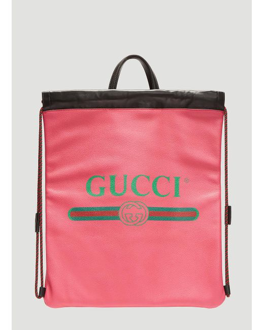 47b6f95851e8 Lyst - Gucci Logo Drawstring Leather Backpack In Pink in Pink for Men
