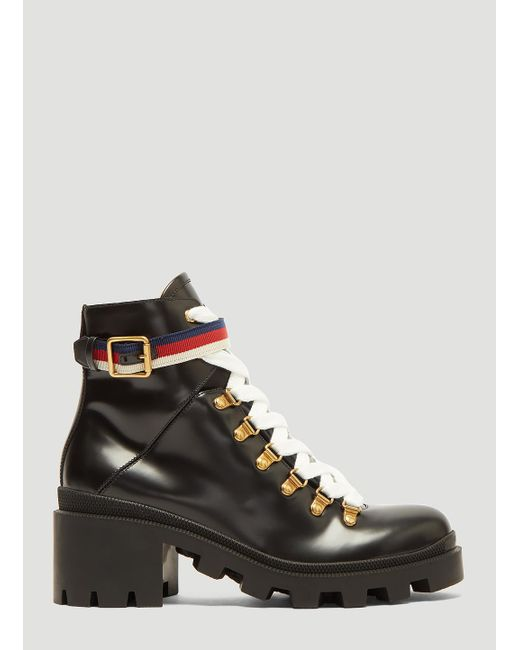 d7e50b9c4e1 Lyst - Gucci Trecking Heeled Ankle Boot In Black in Black