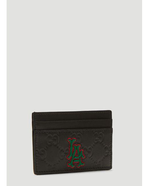 6d2619cdb8338f Gucci Black La Angels Edition GG Card Holder in Black for Men - Save ...
