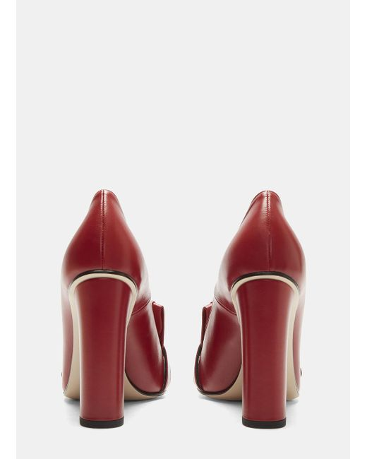 d6ceb094aba ... Gucci - GG High-heel Fringed Marmont Pumps In Red - Lyst ...
