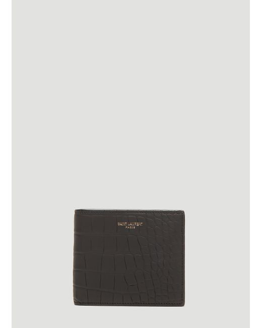 bca9dafd7e9 Lyst - Saint Laurent Crocodile Bi-fold Wallet In Black in Black for Men