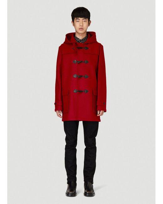 Saint Laurent Red Leather-trimmed Wool Coat for men