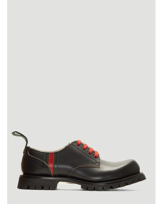 126c2c3d57be4 Lyst - Gucci Arley Leather Lace-up Shoes In Black in Black for Men ...
