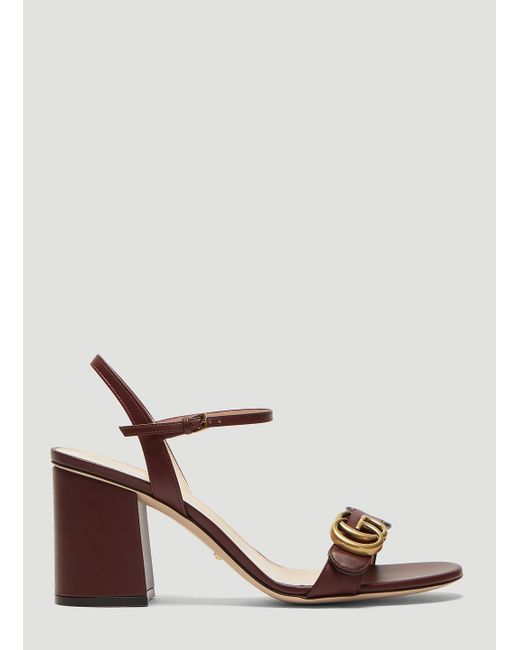 d39db6fa7 Gucci - Multicolor Double G Leather Mid-heel Sandal In Burgundy - Lyst ...