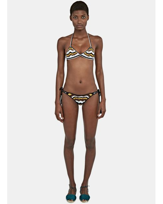 All That Remains | Women's Honey Tie Sides Zigzag Bikini In Black, White And Brown | Lyst