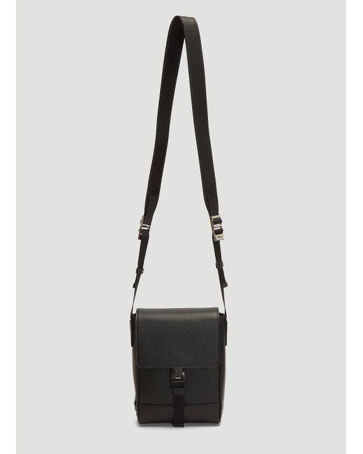 a39e799c80fb Lyst - Prada Saffiano Leather Shoulder Bag In Black in Black for Men
