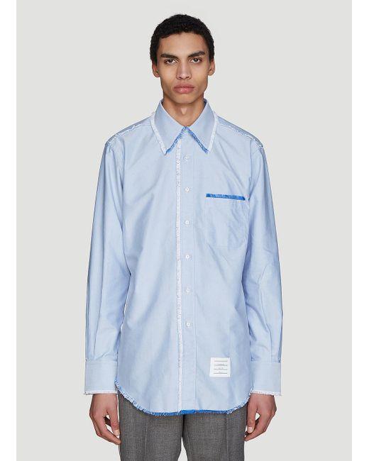 f1f8b6af Lyst - Thom Browne Frayed Oxford Shirt In Blue in Blue for Men