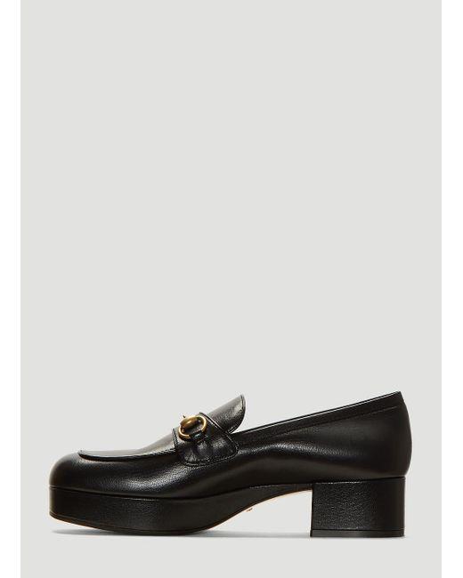 18ccdaaf7de Lyst - Gucci Leather Platform Loafer With Horsebit in Black - Save 2%