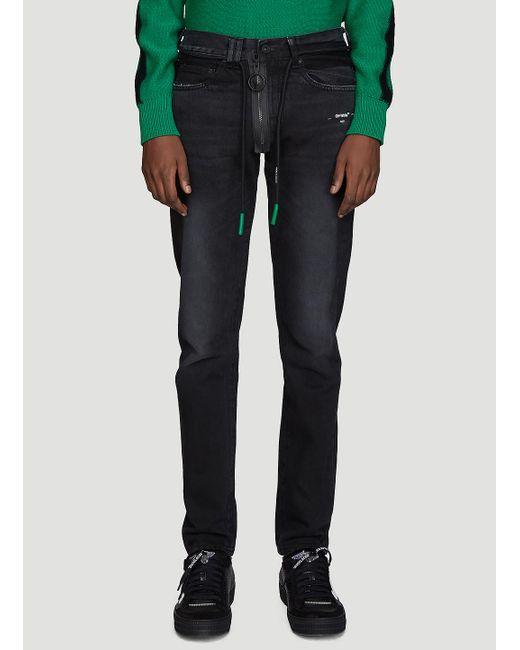 3db20aff2bf9 Lyst - Off-White c o Virgil Abloh Slim Fit Back Dart Jeans In Black ...