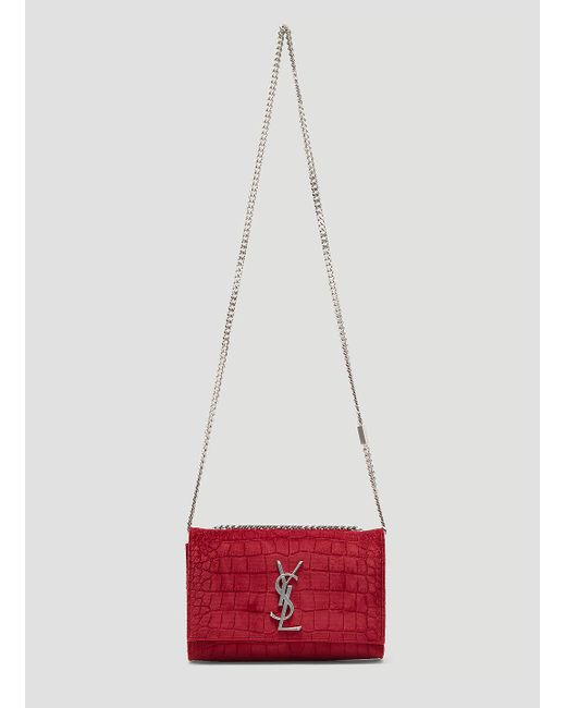 Saint Laurent Small Velvet Snakeskin Kate Bag In Red in Red - Lyst 764c0ea9f0256