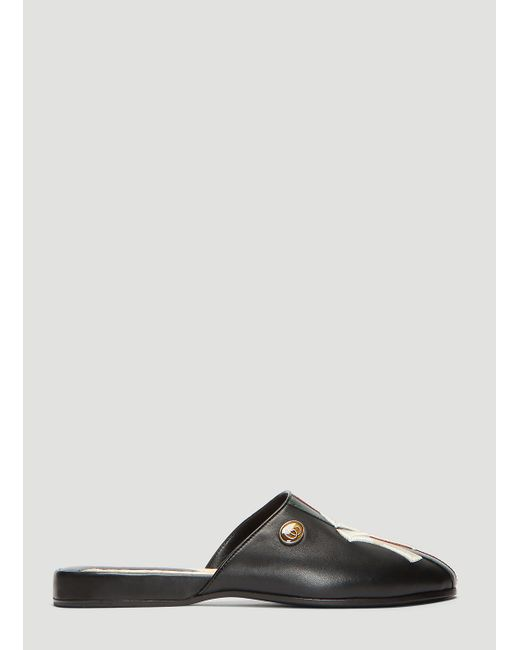 abefcba453ffc1 Lyst - Gucci Leather Slipper With Ny Yankeestm Patch in Black - Save 21%