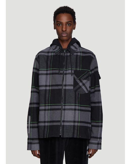 a60588c7 Lyst - Off-White c/o Virgil Abloh Check Hooded Shirt In Grey in Gray ...
