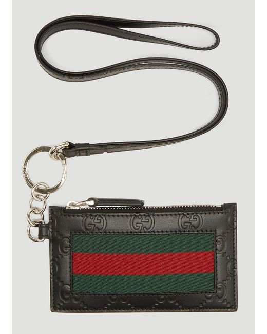 Gucci Web Strap Leather Card Case In Black for men