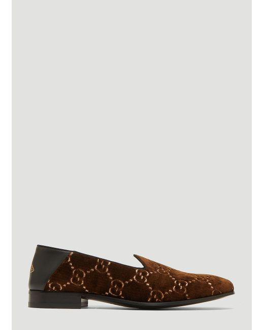 325408ed854 Lyst - Gucci Gallipoli Logo Jacquard Velvet Loafers in Brown for Men ...