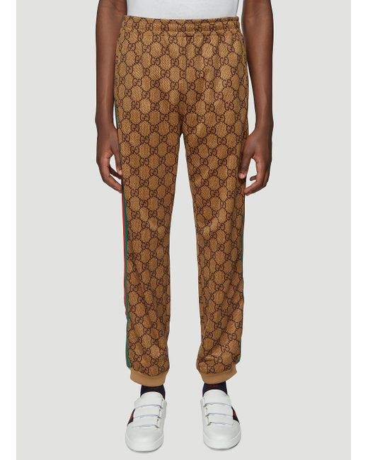 Gucci Brown Men's Large Vintage Logo-print Track Pants for men