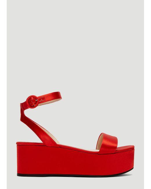 4745adbbe Lyst - Prada Satin Flatform Sandals In Red in Red - Save 14%