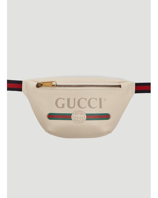 af892ae778be5 Gucci Leather Logo Belt Bag In White For Men Lyst