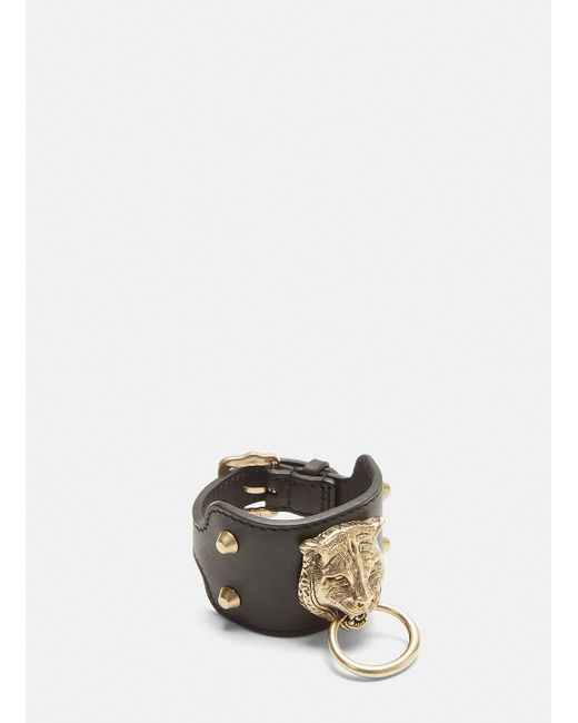 Gucci - Leather Feline Cuff In Black - Lyst