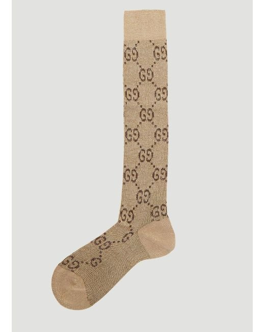 Gucci Natural Beige And Brown GG Supreme Socks