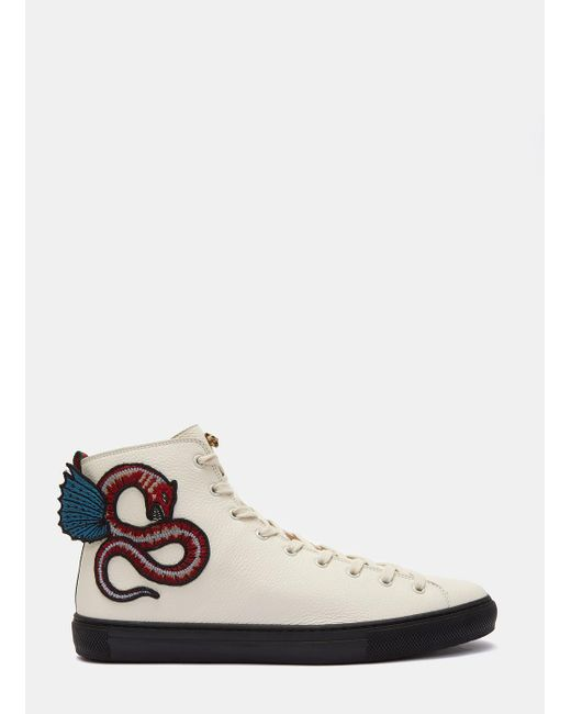 gucci men 39 s serpent embroidered high top sneakers in white in white for men lyst. Black Bedroom Furniture Sets. Home Design Ideas